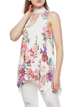 Floral Sleeveless Asymmetrical Top - 3064067330883