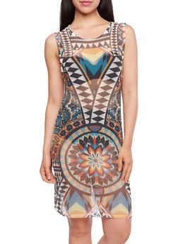 Mesh Tank Dress with Geometric Print - 3064067331328