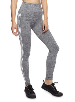 Marled Varsity Stripe Leggings - 3066061630185