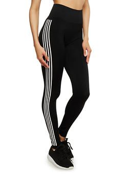Side Striped Athletic Leggings - BLACK - 3066061631240