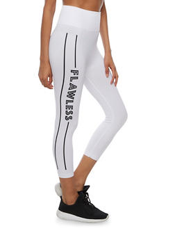 High Waisted Flawless Cropped Leggings - WHITE - 3066062900703