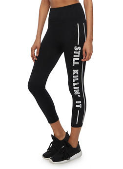 High Waisted Still Killin It Graphic Cropped Leggings - BLACK - 3066062905083