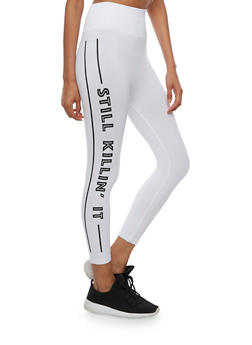 High Waisted Still Killin It Graphic Cropped Leggings - WHITE - 3066062905083