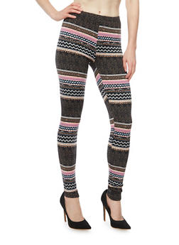 Striped Fleece Leggings with Aztec Print - 3066062906337