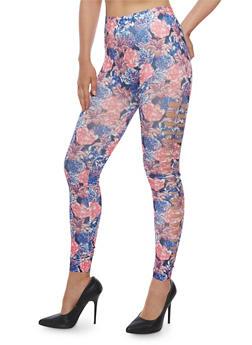 Floral Cut Out Leggings - 3066062906634