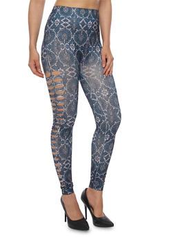 Printed Cut Out Leggings - 3066062906642