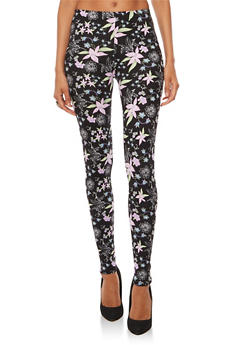 Soft Knit Floral Leggings - 3066062907061