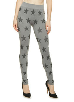 Leggings with Star Print - GRAY - 3066069027222