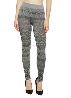 Leggings with Aztec Print - GRAY - 3066069027262