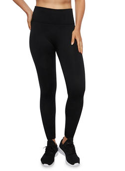 Fleece Leggings with Contrast Knit Waist - 3069041457890