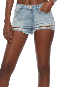 Almost Famous Frayed Denim Shorts - 3070015994032