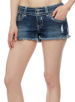 Almost Famous Frayed Hem Shorts - 3070015994047
