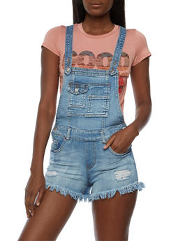 Denim Shortalls with Fringe Hem - 3070015994061