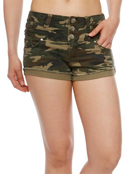 Three Button Camouflage Shorts - 3070015994345