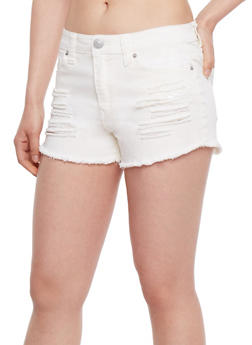 Almost Famous Cut Off Denim Shorts - WHITE - 3070015994762