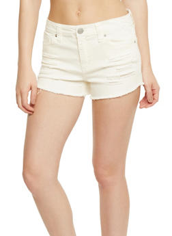 Almost Famous Cut Off Denim Shorts - OFF WHITE - 3070015994762