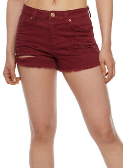 Almost Famous Cut Off Denim Shorts - BURGUNDY - 3070015994762