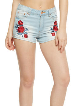 Almost Famous Denim Shorts with Floral Embroidery - 3070015994777