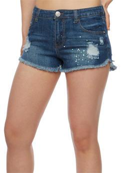 Almost Famous Paint Splatter Distressed Denim Shorts - 3070015995656
