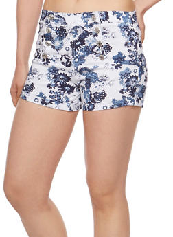 Printed Sailor Shorts - WHITE FLORAL - 3070015999059