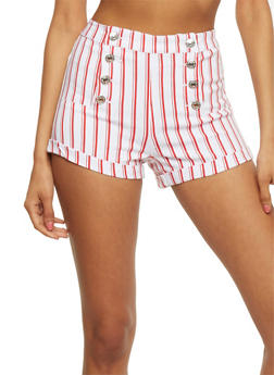 Printed Sailor Shorts - WHITE/RED - 3070015999059