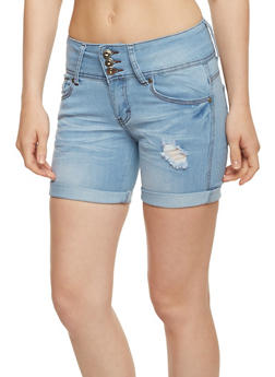 3 Button Distressed Whisker Wash Shorts - 3070041758972