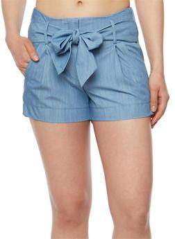 Belted Denim Shorts - 3070056573212