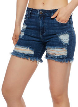 Cello Ripped Jean Shorts with Frayed Hem - 3070063154541