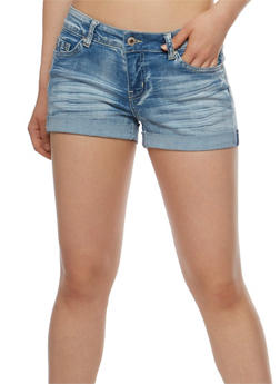 Wax Roll Cuff Jean Shorts - 3070071610060