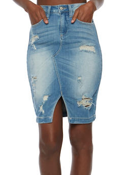 Distressed Denim Pencil Skirt - 3071063155463