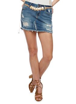 Destroyed Denim Mini Skirt - 3071063155466