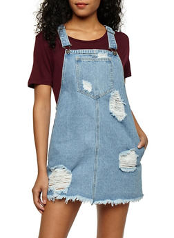 Distressed Denim Overall Dress - 3071063158538