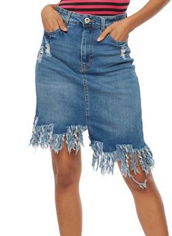 Asymmetrical Frayed Denim Skirt - 3071071313496