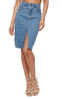 Front Slit Denim Pencil Skirt - 3071071313501