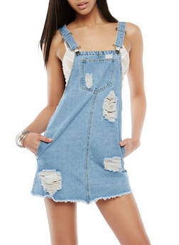 Highway Distressed Mini Denim Dress - 3071071316321
