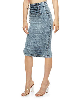 Denim Lace Up Pencil Skirt - 3071072290035