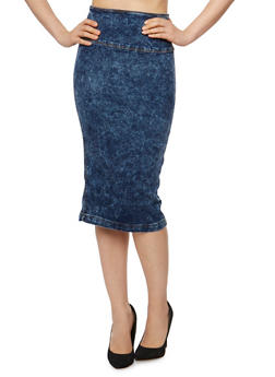 Acid Wash Denim Pencil Skirt with Split Back - 3071072290112