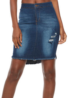 Distressed Frayed Hem Denim Skirt - 3071072292211