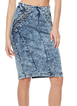 Lace Up Acid Wash Denim Pencil Skirt - 3071072292591