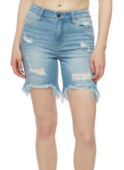 Cello Destroyed Denim Shorts with Frayed Hem - 3072063156525