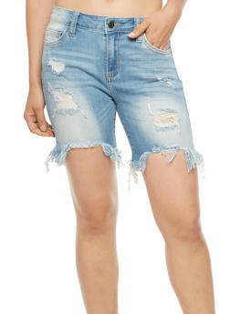 Cello Destroyed Bermuda Shorts - LIGHT WASH - 3072063156526
