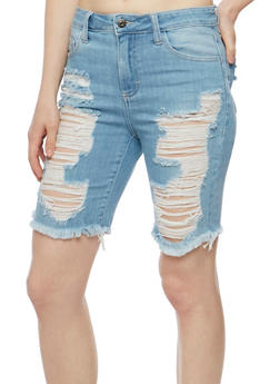 Cello Destroyed Denim Bermuda Shorts - 3072063156546