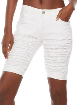 Shredded Denim Bermuda Shorts - 3072063402243