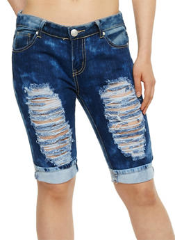 Destroyed Front Denim Bermuda Shorts - 3072063404089