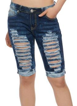 Destroyed Denim Roll Cuff Bermuda Shorts - 3072063404096