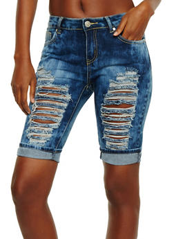 Slashed Front Denim Bermuda Shorts - 3072063404123