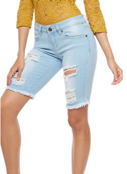 VIP Destroyed Bermuda Denim Shorts - 3072065306171