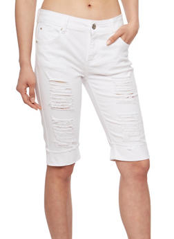 Distressed White Denim Bermuda Shorts - 3072072290250