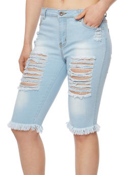Destroyed Capri Jeans with Frayed Hem - 3072072290272