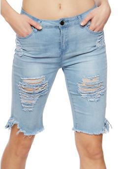Destroyed Capri Jeans with Frayed Hem - 3072072290273